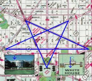 The Freemasons who built Washington DC, constructed multiple inverted stars into its street and monument design.