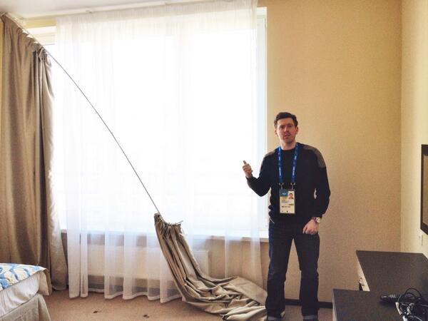 Apparently this reporter can't figure out how to re-attach a curtain rod that has fallen down. We think he pulled it down himself.